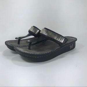 Alegria Carina Hip Black Thong Leather Sandal 39/9